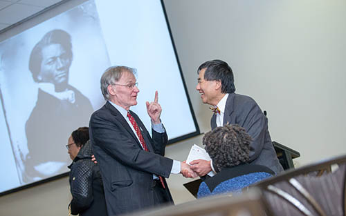 Shaking hands with President Loh