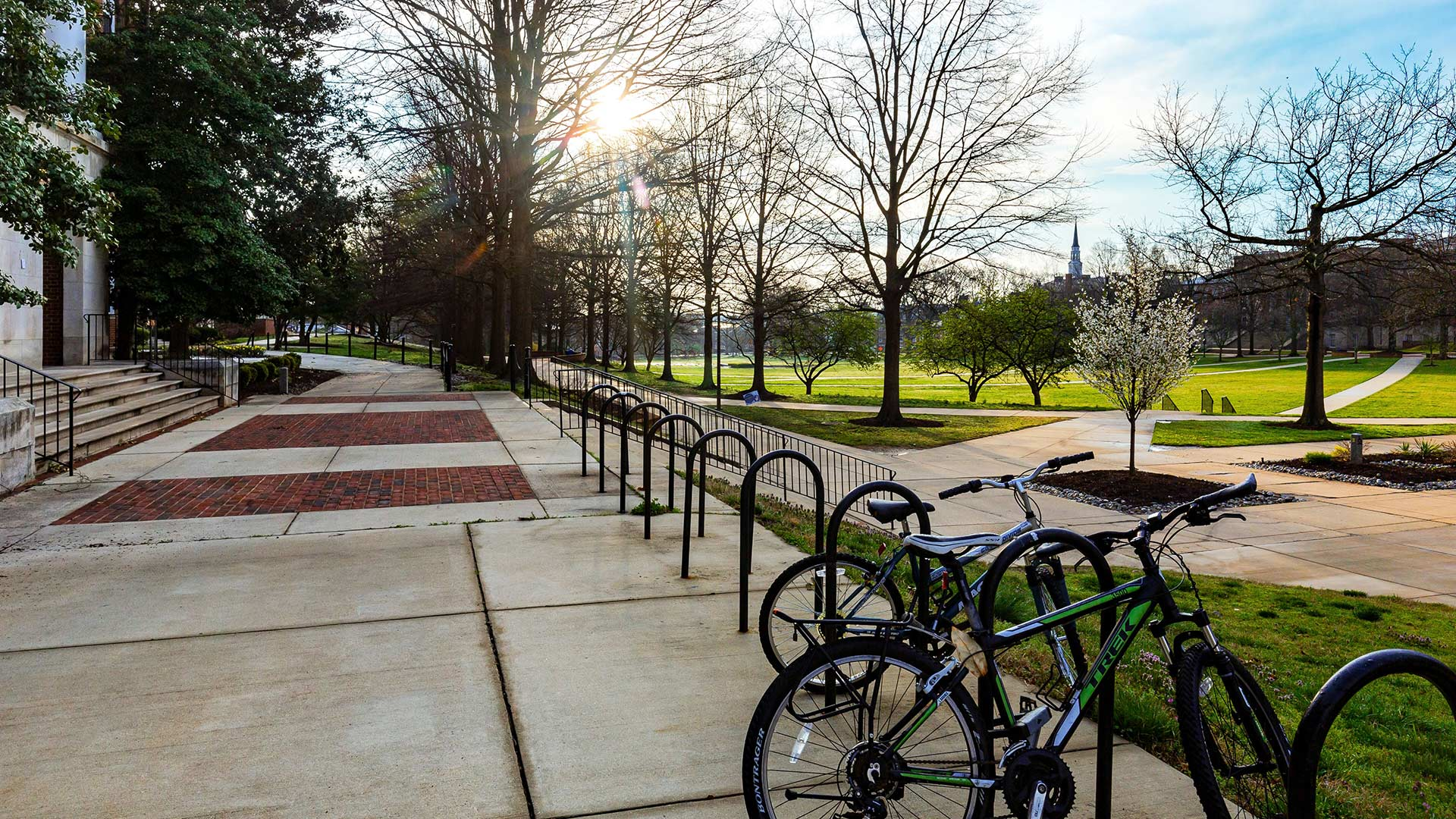 View of a near-empty bike rack outside of Jimenez Hall at sunrise overlooking the Mall, with lens flare.