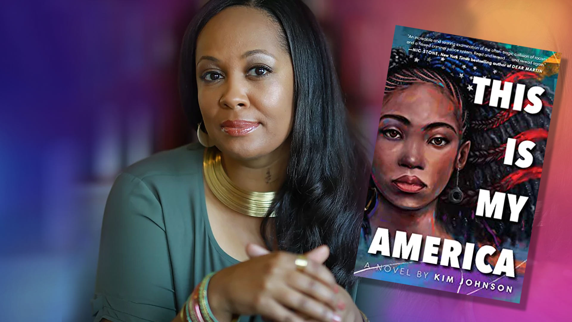 """Kim Johnson M.Ed. '03, author of new novel """"This Is My America,"""" hopes her book might be a call to action amid the movement for racial equity and against police brutality. (Collage by Stephanie S. Cordle; author image by JBoy Photography; book image by Random House; background image by iStock)"""