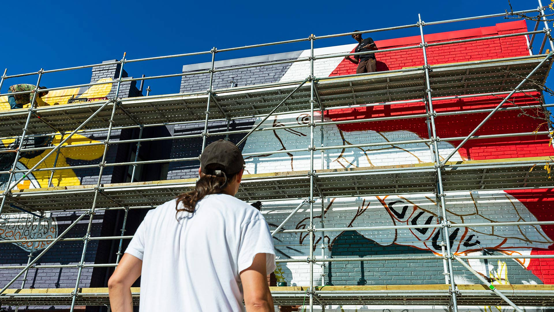 New College Park Mural Enlivens Downtown Facade
