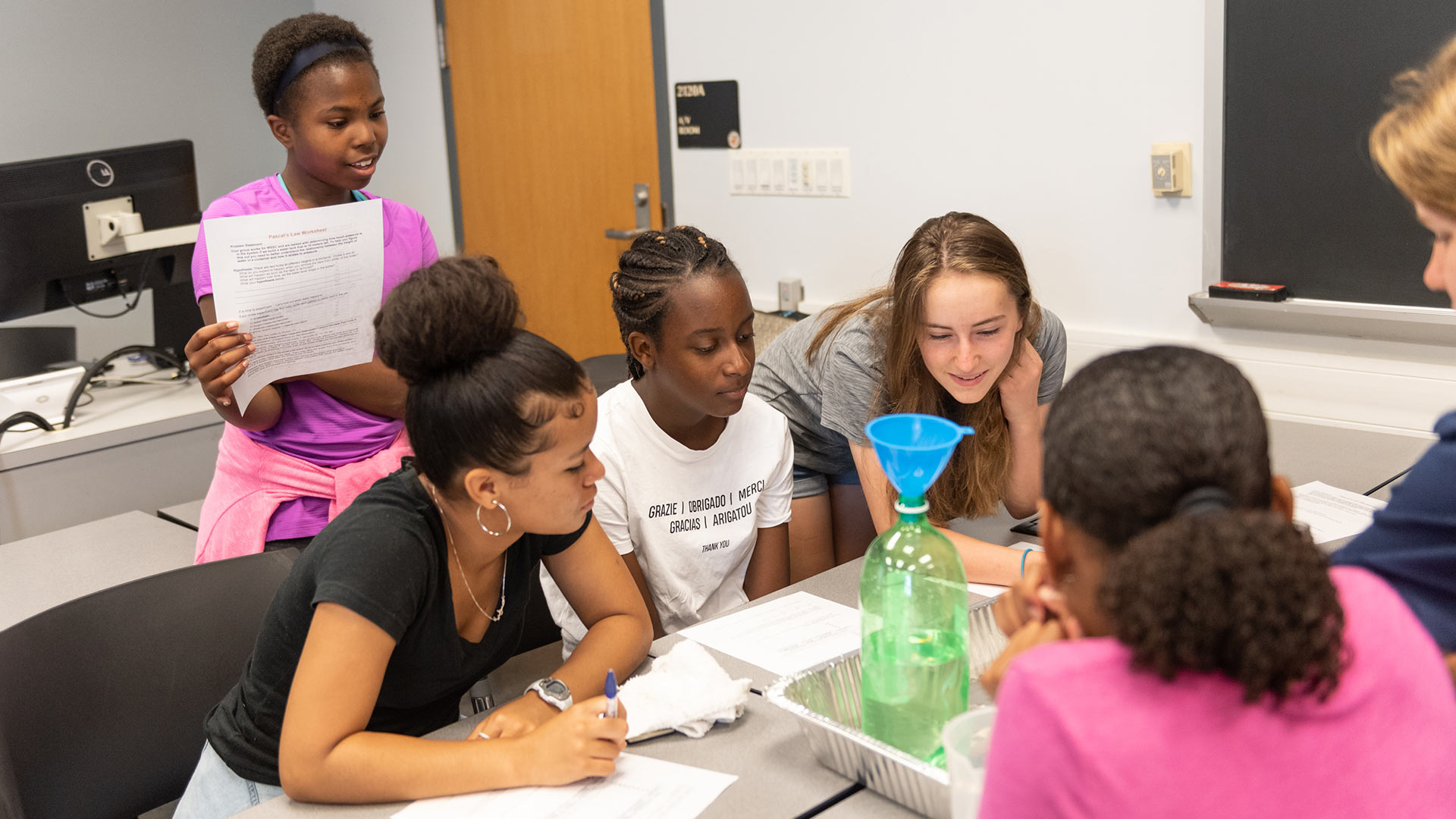 Girls learn engineering basics at a 2019 A. James Clark School of Engineering summer camp. A $3 million gift announced today from Lockheed Martin will in part support STEM education for women and underrepresented minorities. (Photo by Alison Harbaugh)