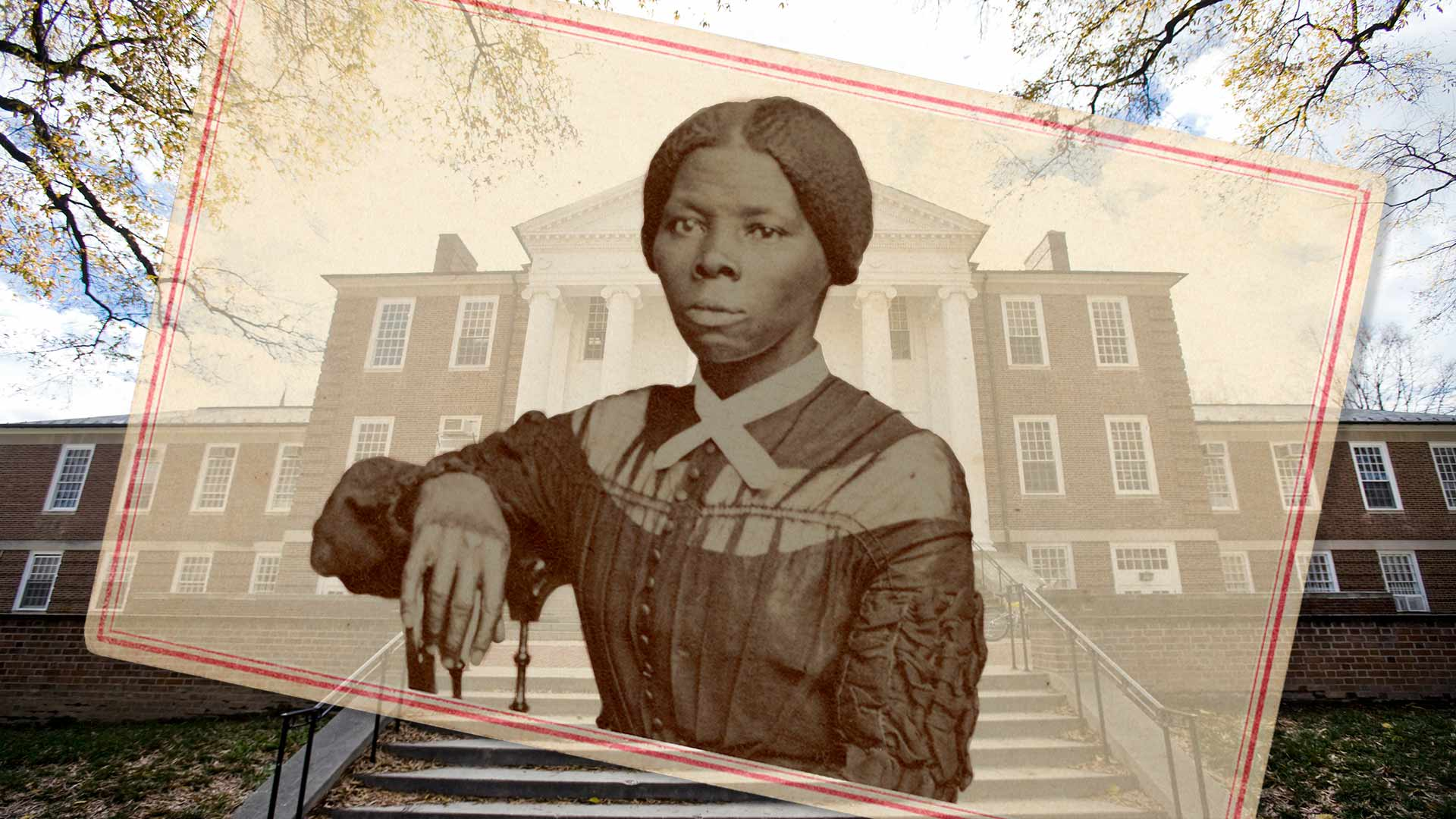 The newly renamed Harriet Tubman Department of Women, Gender, and Sexuality Studies honors a Maryland icon of freedom, seen in a 19th-century photograph superimposed on Woods Hall, where the department is based. (Woods Hall image by John T. Consoli; Tubman image credit: National Museum of African American History and Culture, Library of Congress; Collage by Stephanie S. Cordle)